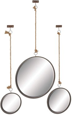 """Willow Row Modern 37"""", 40"""", and 42"""" Iron-Framed Wall Mirrors With Rope Hangers at Nordstrom Rack"""