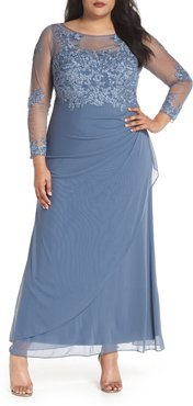 Plus Size Women's Decode 1.8 Embroidered Illusion Lace Gown