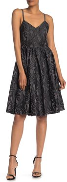 Gracia Metallicized Lace Sleeveless Flare Dress at Nordstrom Rack