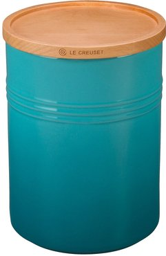 Glazed 22 Ounce Stoneware Storage Canister With Wooden Lid