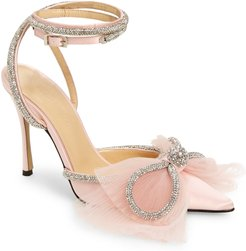 Double Crystal & Tulle Bow Satin Pump