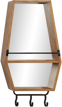 """Willow Row 15"""" x 29"""" Hexagonal Wood Wall Mirror with Shelf & 3 Iron Hanging Hooks at Nordstrom Rack"""