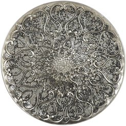 """Willow Row Large Round Silver Aluminum Wall Decor with Mosaic Mirror Detail - 33"""" x 33"""" at Nordstrom Rack"""