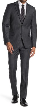 Tommy Hilfiger Stripe Two Button Notch Lapel Wool Blend Suit at Nordstrom Rack