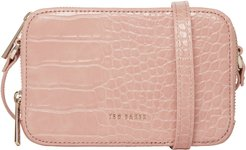 Stina Embossed Faux Leather Crossbody Bag - Pink