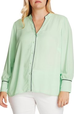 Plus Size Women's Vince Camuto Piped Button-Up Shirt