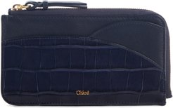 Walden Croc Embossed Leather Ipad Pouch - Blue