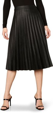 Carole Pleated Faux Leather Skirt