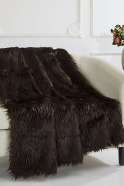 """Chic Home Bedding Krista Shaggy Faux Fur Blanket - 50"""" x 60"""" - Brown at Nordstrom Rack"""