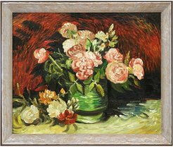 """Bowl with Peonies and Roses with Silver Luna Frame, 24"""" x 28"""" at Nordstrom Rack"""
