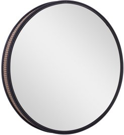 """Willow Row Round Black Metal Wall Mirror With Faux Wicker Caning Side Detail - 31.5"""" X 31.5"""" at Nordstrom Rack"""