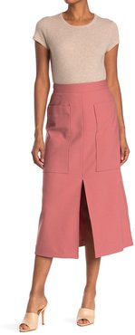 Sea High Waist Patch Pocket Front Slit Midi Skirt at Nordstrom Rack
