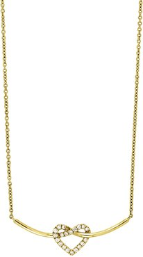 Bony Levy 18K Yellow Gold Pave Heart Diamond Heart & Curved Bar Pendant Necklace at Nordstrom Rack