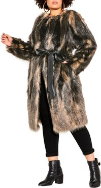 Plus Size Women's City Chic '70S Diva Faux Fur Jacket