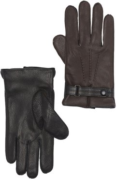 Bruno Magli Cashmere Lined Leather Snap Button Gloves at Nordstrom Rack