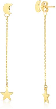 Sphera Milano 14K Yellow Gold Moon & Star Front To Back Drop Earrings at Nordstrom Rack