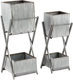 Willow Row Silver Modern Square Double Deck Plant Stand - Set of 2 at Nordstrom Rack