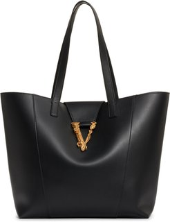 Logo Leather Tote - Black