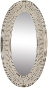 """Willow Row Tall Oval Distressed White Textured Metal Wall Mirror - 33"""" x 60"""" at Nordstrom Rack"""