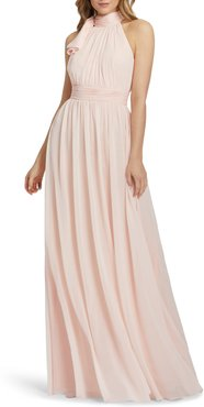 High Neck Ruched Chiffon A-Line Gown