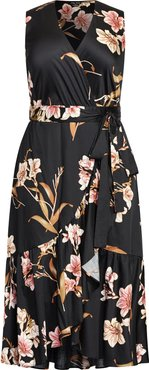 Plus Size Women's City Chic Floating Lily Floral Print Dress