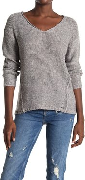 Modern Designer V-Neck Faux Suede Elbow Patch Tunic Sweater at Nordstrom Rack