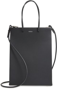 Tall Leather Tote - Black