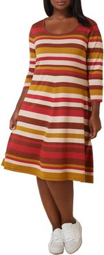 Maree Pour Toi Striped Fit & Flare Midi Sweater Dress at Nordstrom Rack