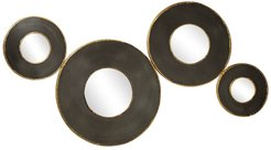 """Willow Row Contemporary Black Metal Round Wall Mirror Cluster Wall Decor With Metallic Gold Trim - 50"""" x 27 at Nordstrom Rack"""