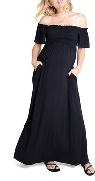 Ingrid & Isabel Off The Shoulder Maternity Maxi Dress