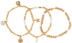 Alex and Ani Sand Dollar Gold Plated Beaded Stretch Bracelet - Set of 3 at Nordstrom Rack