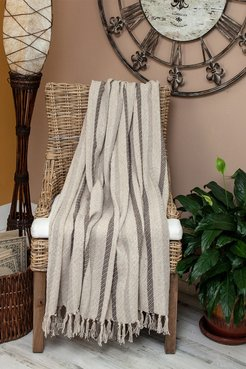 """Parkland Collection Robby Transitional Beige 52"""" x 67"""" Woven Handloom Throw at Nordstrom Rack"""
