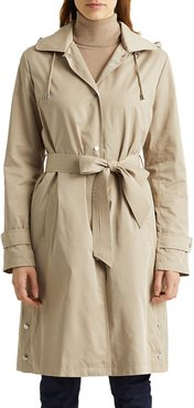 Memory Packable Memory Belted Jacket With Removable Hood