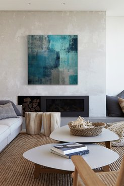 """Marmont Hill Inc. Meditation in Blue Painting Print on Wrapped Canvas - 48""""x48"""" at Nordstrom Rack"""
