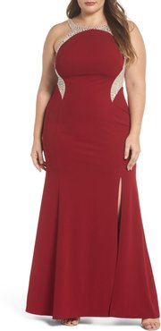 Plus Size Women's Decode 1.8 Embellished Illusion Gown