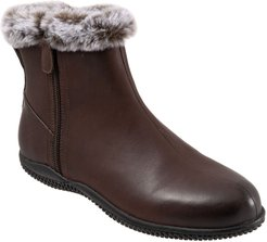 Softwalk Helena Leather Bootie With Faux-Fur Trim