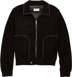 Studded Leather Bomber Jacket