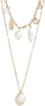 Halogen Pearl & Crystal Station Layered Necklace