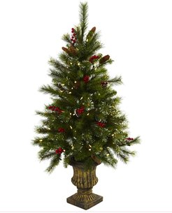 NEARLY NATURAL Green 4ft. Berries, Pine Cones, LED Lights Christmas Tree in Decorative Urn at Nordstrom Rack