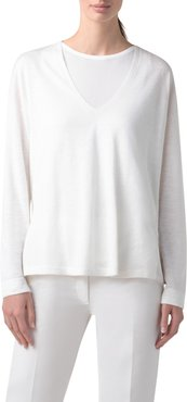 Double Layer Silk & Linen Sweater