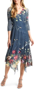 Floral Chiffon & Charmeuse Handkerchief Hem Midi Dress
