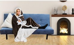 Duck River Textile Solid Hooded Reversible Throw Blanket with Side Pockets - Chocolate at Nordstrom Rack