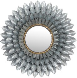 """Willow Row Large - Round 3d Silver Metal Floral Accent Mirror - 32"""" at Nordstrom Rack"""