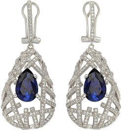 Suzy Levian Sterling Silver Pear-Cut Blue CZ Pave Crosshatched Drop Earrings at Nordstrom Rack