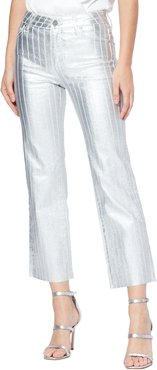 PAIGE Atley Metallic High Waist Raw Hem Ankle Flare Jeans at Nordstrom Rack