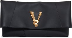 Virtus Foldover Leather Clutch - Black