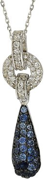 Suzy Levian Sterling Silver Blue Sapphire, Created White Sapphire & Brown Diamond Pendant Necklace - 0.02 ctw at Nordstrom Rack