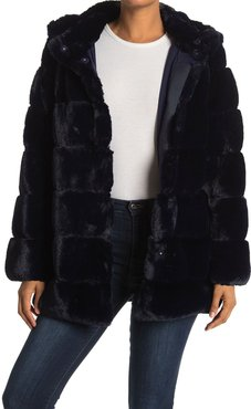 BCBGMAXAZRIA Cozy Grooved Faux Fur Coat at Nordstrom Rack
