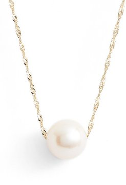 Solitaire Cultured Pearl Pendant Necklace