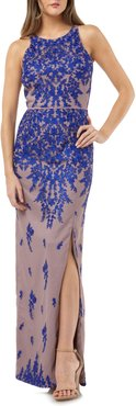 Floral Embroidered Mesh Evening Dress